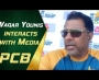 Waqar Younis interacts with media