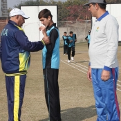Chairman PCB Ehsan Mani visit of the Catch em young U13 camp in progress at the NCA Lahore