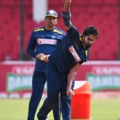 Sri Lanka team training session at the National Stadium Karachi