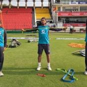 Pakistan team practice session at Gaddafi Stadium Lahore