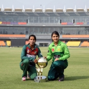 Trophy unveiling ceremony of Pakistan v Bangladesh at Gaddafi Stadium, Lahore