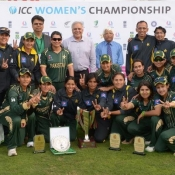 Pakistan Women team pose with winning trophy after clean sweep the ODI series against Sri Lanka Women 3-0