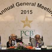 PCB Chairman Shaharyar M. Khan,  Executive Committee Chairman Najam Sethi, COO Subhan Ahmad, CFO Badar M. Khan at Annual General Meeting 2015