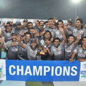 Sialkot Stallions team celebrate with trophy
