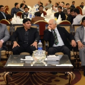 Misbah-ul-Haq with Chairman PCB in a program organized by local cricket team