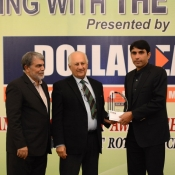 Misbah-ul-Haq receives a medal from Chairman PCB Mr. Shaharyar M. Khan in a program organized by local cricket team