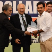 Sarfraz Ahmed receives a medal from Chairman PCB Mr. Shaharyar M. Khan in a program organized by local cricket team