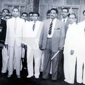 Guest photographed at reception held in honour of Lala Amarnath, manager of Indian Starlets XI, Karachi April 1960