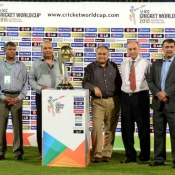 PCB officials with ICC World Cup 2015 Trophy at National Stadium Karachi