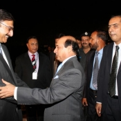 PCB Chairman Muhammad Zaka Ashraf meets Governor Punjab Sardar Muhammad Latif Khosa at Expo centre Lahore