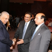 PCB Chairman Muhammad Zaka Ashraf, former Chairman Ijaz Butt and Governor Punjab Sardar Muhammad Latif Khosa at Expo centre Lahore