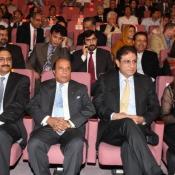 PCB Chairman Muhammad Zaka Ashraf, Governor Punjab Sardar Muhammad Latif Khosa and PTV MD Yousaf Baig Mirza at Expo centre Lahore