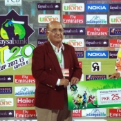Lahore Lions Mohammad Hafeez receives Man of the Match award in Faysal Bank Super Eight T20 Cup match against Tigers