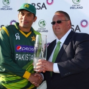Pakistan captain Misbah-ul-Haq receives the winning trophy against Ireland