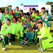 Pakistan team pose with the trophy after winning the ODI series 2013 against Ireland