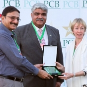 PCB Chairman Ch. Zaka Ashraf giving shield at the end of T20 match between PCB XI and British XI