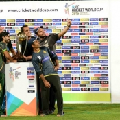 Shahid Afridi, Fawad Alam, Sarfraz Ahmed and Anwar Ali pose with ICC World Cup 2015 Trophy at National Stadium Karachi
