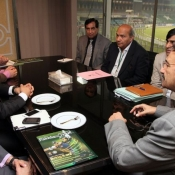 Afghanistan Cricket Board delegation headed by Dr. Noor Mohammad Murad COO called upon Chairman PCB Ch Zaka Ashraf today at PCB Headquarters.