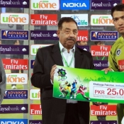 Multan Tigers Sohaib Maqsood receives Man of the Match award in Faysal Bank Super Eight T20 Cup match against Falcons