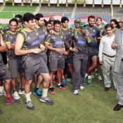 PCB Chairman meets players during summer camp at Gaddafi Stadium Lahore