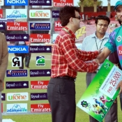 Rawalpindi Rams Sohail Tanvir receives Man of the Match award in Faysal Bank Super Eight T20 match against Stags