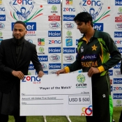 Umar Amin receives Player of the match award in 3rd ODI against Zimbabwe at Harare