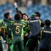 Pakistan team celebrate after reaching the ICC Under-19s World Cup Final