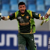 Zafar Gohar celebrates after winning the ICC Under-19s World Cup semi Final against England