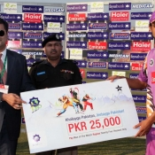 Ahmad Jamal of Abbottabad Falcons receiving man of the match award from Regional Head Corporate Banking Faisal Bank Mr. Ali Waqar