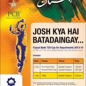 Tickets Ad for the Semis and Final of Faysal Bank Departments T20 Cup