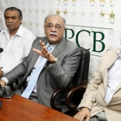 Chairman PCB Mr. Najam Sethi's press conference at Gaddafi Stadium Lahore