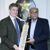 Chairman PCB Najam Sethi with Head of European Union Delegation