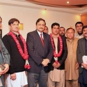 Chairman PCB Ch. Zaka Ashraf meeting with Newly elected office bearers of Peshawar region