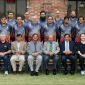 Chairman PCB Ch. M. Zaka Ashraf with the participants of Level 4 Coaching Course started at NCA