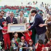 Chairman PCB Ch. Muhammad Zaka Ashraf with the prize winners of Bait-ul Maal Sweet Home Prize Distribution Ceremony