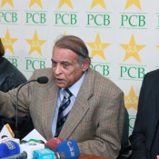 Chief Selector Muhammad Illyas announcing Pak team pressbriefing photos.
