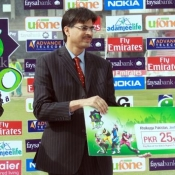Sialkot Stallions Shoaib Malik receives Man of the Match award in Faysal Bank Super Eight T20 Cup match against Falcons