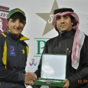 Bismah Maroof receives player of the match award against South Africa Women in Doha