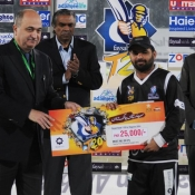Faisalabad Wolves Farrukh Shehzad receives Man of the Match in 2nd Semi Final against Abbottabad Falcons