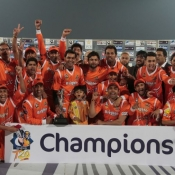 Lahore Lions celebrates after winning the Faysal Bank T20 Cup 2013-14
