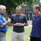 Haroon Rasheed in discussion with Pakistan batting coach Grant Flower and Fielding Coach cum Trainer Grant Luden at NCA Lahore