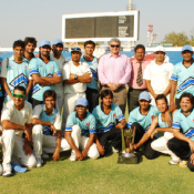 Port Qasim Authority team pose with the Trophy after winning the Patron's Trophy Grade II tournament 2011-12