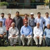 Elected office-bearers of ICA's four zones with PCB Election Commissionr Muhammad Sioddique and President ICA and RCA Islamabad Shakil Shaikh
