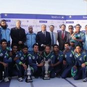 Karachi Dolphins team group photo after winning the One Day Cup 2013-14