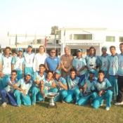 Rawalpindi Rams U-19s team group photo with the winning trophy