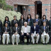 Chairman Shaharyar M. Khan and COO Subhan Ahmed with the gold medalist women's cricket team