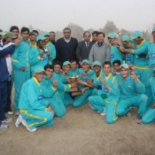 Group Photograph of Champion Rawalpindi U-16 which lifted PCB Pepsi Cricket Stars U-16 Tournament with Member PCB Governing Board Shakil Shaikh