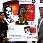 Naila Nazir received player of the match award in Federal Capital v Khyber Pakhtoonkhaw match