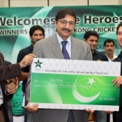 Chairman PCB Ch. Zaka Ashraf hosted a reception in honor of  Pakistan Team  that won the Hong Kong Cricket Sixes Tournament