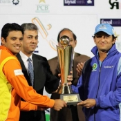 Lahore Lions Captain and Karachi Zebras Captain sharing the Faysal Bank One Day Cup 2012-13